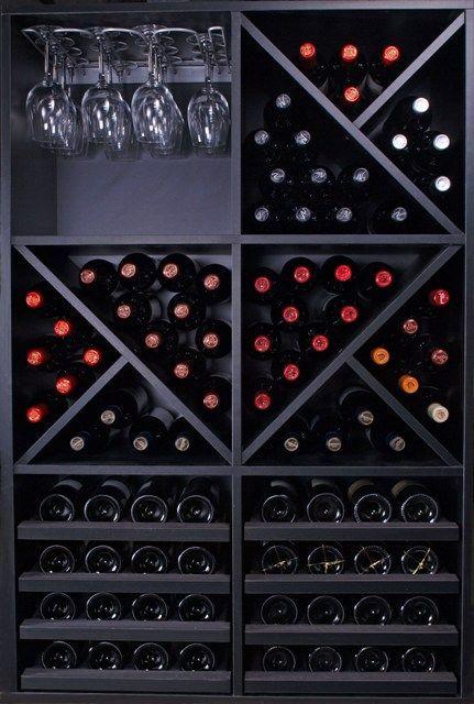 Vinoteca con botelleros de madera a tu alcance - Muebles para poner botellas de vino ...