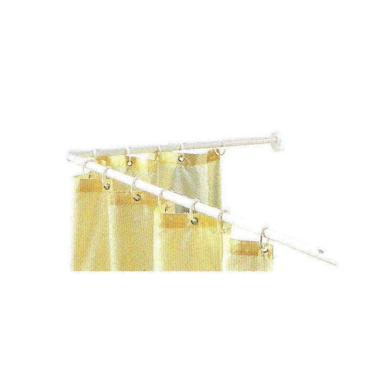 Cortinas De Baño Blancas:Barra cortina baño curba 70 x 114/190cm blanca