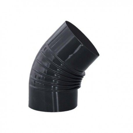 Codo estufa vitrificado negro 45º 150 mm.