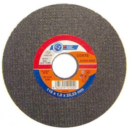 Disco corte fino inoxidable 115 x 1 mm. caja 25 unidades CZ