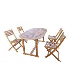 conjutno mesa 4 sillas madera plegables
