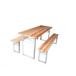 Mesa plegable 2 bancos madera profer