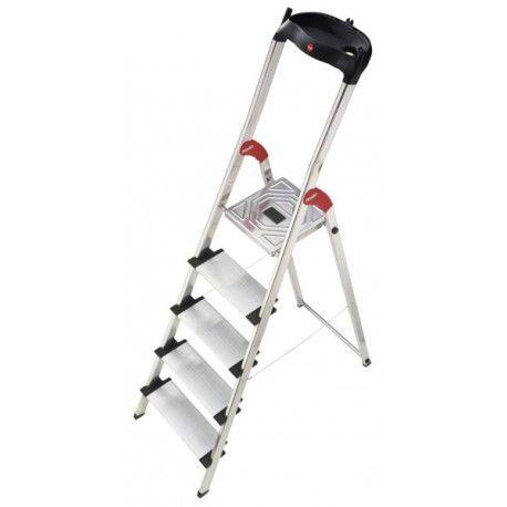 Escalera aluminio peldaño ancho bandeja Hailo